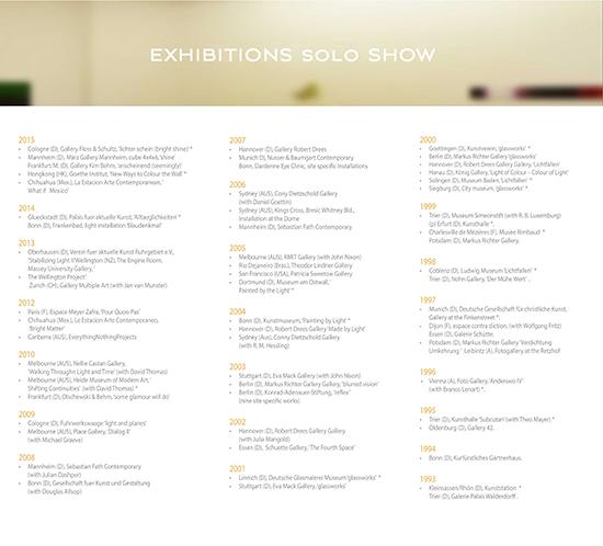 Solo Show Exhibition List