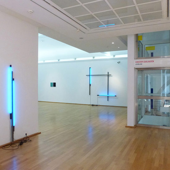left: Two Blue One Up, 2015 middle: Bodies, diptych, 2016 middle right: Stabilizing Light and Wall VII, 2017 right: Ahlener Bandagen, permanent commission work from 2010 / vinyl on Glas